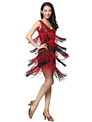 Dancewear Viscose Latin Dance Dress With Tassels For Ladies