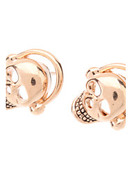 Rose Gold Skull Earphone Stud Earrings