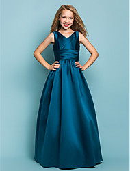 Floor-length Satin Junior Bridesmaid Dress - Ink Blue A-line / Princess V-neck