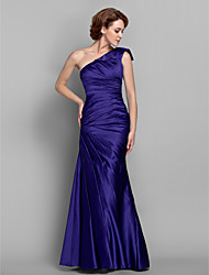 LAN TING BRIDE Trumpet / Mermaid Plus Size Petite Mother of the Bride Dress - Elegant Floor-length Sleeveless Satin with Side Draping