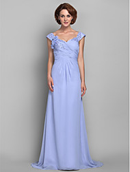A-line Plus Sizes Mother of the Bride Dress - Lavender Sweep/Brush Train Sleeveless Chiffon
