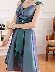 Women's Solid Green/Purple/Red Dress , Party Strap Sleeveless Ruched