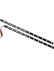 2x30cm LED Car Flexible Waterproof Light Strip Red