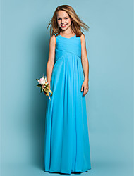 Lanting Bride® Floor-length Chiffon Junior Bridesmaid Dress Sheath / Column Scoop Natural with Draping / Criss Cross / Ruching