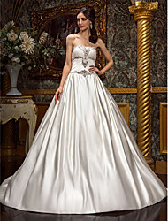 Lan Ting A-line/Princess Plus Sizes Wedding Dress - Ivory Chapel Train Strapless Satin