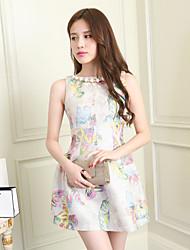 Fashion Flower Robe imprimée sans manches LILY CHOU femmes