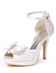 Elegant Satin Upper Stiletto Heel Peep Toe With Rhinestone Wedding Shoes