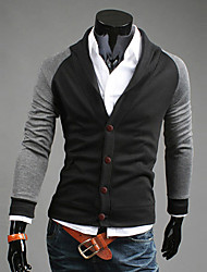 Contrasto di colore cuciture cardigan outwear Uomo Slim