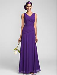 Lanting Bride® Floor-length Georgette Bridesmaid Dress Sheath / Column V-neck Plus Size / Petite with Crystal Detailing / Side Draping