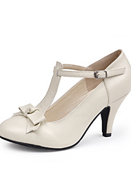 Tasteful Leather Round Toe Pumps with Bowknot and Buckle Party Shoes