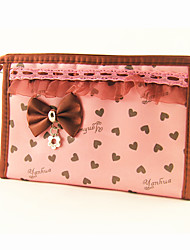 Briefcase Pattern Make up/Cosmetics Bag with Mirror Pink Loving-heart Bowknot