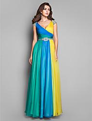 Formal Evening/Prom/Military Ball Dress - Multi-color Plus Sizes A-line/Princess V-neck Floor-length Chiffon