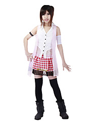 Inspired by Final Fantasy Serah Farron Video Game Cosplay Costumes Cosplay Suits Plaid White SleevelessVest / Top / Skirt / Armlet /