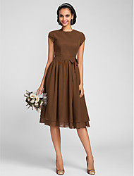 Knee-length Chiffon Bridesmaid Dress - Brown Plus Sizes A-line Jewel
