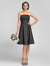 Knee-length Taffeta Bridesmaid Dress - Black Plus Sizes / Petite A-line / Princess Strapless