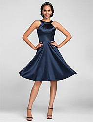 Lanting Bride Knee-length Stretch Satin Bridesmaid Dress A-line Jewel Plus Size / Petite with Side Draping