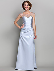 LAN TING BRIDE Sheath / Column Plus Size Petite Mother of the Bride Dress - See Through Floor-length Sleeveless Satin Tulle withBeading