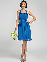 Lanting Bride Knee-length Chiffon / Stretch Satin Bridesmaid Dress - Mini Me A-line Halter Plus Size / Petite with Draping / Bandage