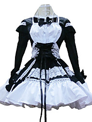 One-Piece/Dress Sweet Lolita Lolita Cosplay Lolita Dress Black Patchwork Long Sleeve Short Length Dress For Women Cotton