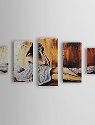 Hand Painted Oil Painting People Desperate Lady with Stretched Frame Set of 5 1309-PE1024