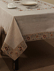 "69""X104"" Retro Style Beige Floral Linen and Cotton Table Cloth"