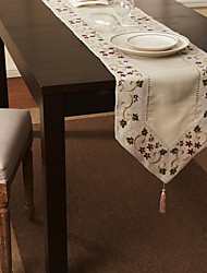 Beige Mélange Lin/Coton Rectangulaire Chemins de table
