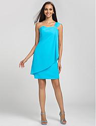 Knee-length Chiffon Bridesmaid Dress Sheath / Column One Shoulder Plus Size / Petite with Beading / Side Draping