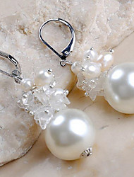 Boucles d'oreilles plaqué naturelles 18K White Pearl - Blanc (1.7 * 1.7cm)