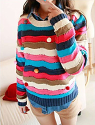 MANWEIWEI Women's Multi-Color Korean Fashion Casual All-Match Multi-Color Balloon Cut Out Rainbow Stripe Sweater