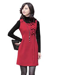 Dulce Tres Bowknot sin mangas rojo del vestido de lana Mujeres del Río