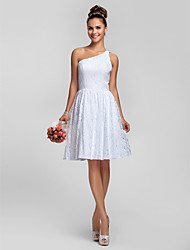 Lanting Knee-length Lace Bridesmaid Dress - White Plus Sizes / Petite A-line / Princess One Shoulder