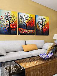 mx handgeschilderde olieverf geluk boom met gestrekte frame set van 3-9112
