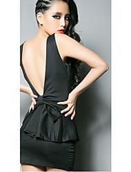 Sirena V-cuello sin mangas del mini vestido atractivo con Volantes
