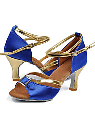 Customizable Women's Dance Shoes Latin Satin Customized Heel Blue