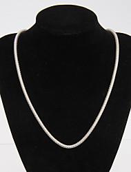 Rich Long Gold 925 Silver Basic Simple Series Men'S 2 Necklace