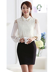 Women's Lace White Blouse , Shirt Collar Beaded/Lace