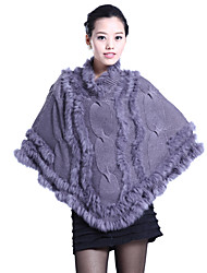 3/4 Sleeve Collarless Rabbit Fur Party/Casual Coat(More Colors)