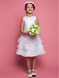 LAN TING BRIDE Sheath / Column Tea-length Flower Girl Dress - Organza Jewel with Ruching