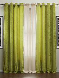 Two Panels Modern Life in the Green Energy Saving Curtains Drapes with Sheer Set