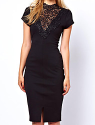 Women's Solid Black Dress , Lace/Work Halter/Stand Embroidery/Split