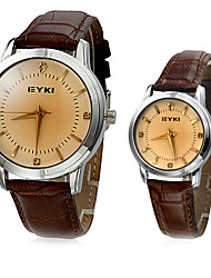 EYKI Couple's Classic Dial Leather Band Quartz Analog Wrist Watch (Assorted Colors)