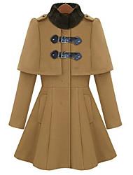 pinklady stand kraag mantel jas met zwarte bontkraag
