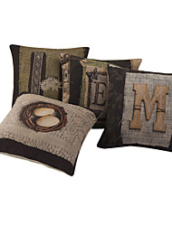 Set of 4 Photo of Home Cotton/Linen Decorative Pillow Cover