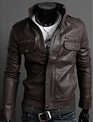 Café Hombres QER nuevo modelo Multi cremallera soporte chaqueta de cuero collar