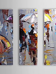 Oil Painting Abstract Umbrella with Stretched Frame Set of 3 1310-AB1155 Hand-Painted Canvas