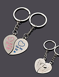 Personalized Heart Couple Key Keychain - Set of 6 Pairs