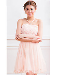 Women's Party Solid A Line Dress , Strapless Above Knee Chiffon
