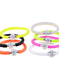 Silver Plated Clasp Disco Ball Charm Leather Bracelet (Color Random Delivery)