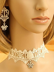 Handmade Crown White Lace Princess Lolita Accessories Set