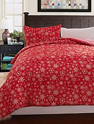3 peças vermelho floral natal quilt conjunto